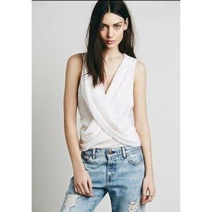 Free People Top Embroidered Gauzy Wrap Tank Pink